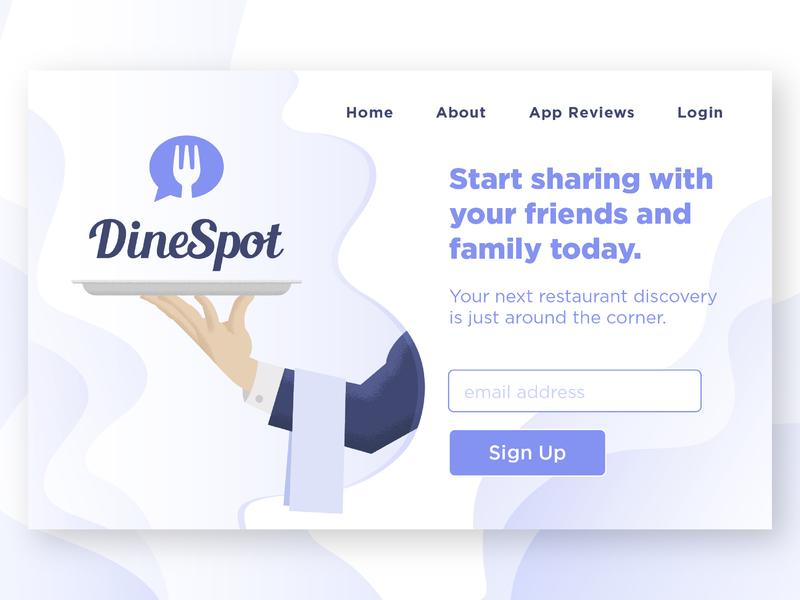 DineSpot Sign Up Page brand illustration style waiter tray sign up page graphic purple design typography branding art vector app design illustration logo illustrator