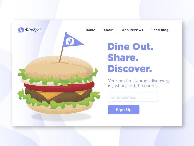 DineSpot Sign Up page illustrator illustration sign up page toothpick hamburger burger restaurant app restaurant