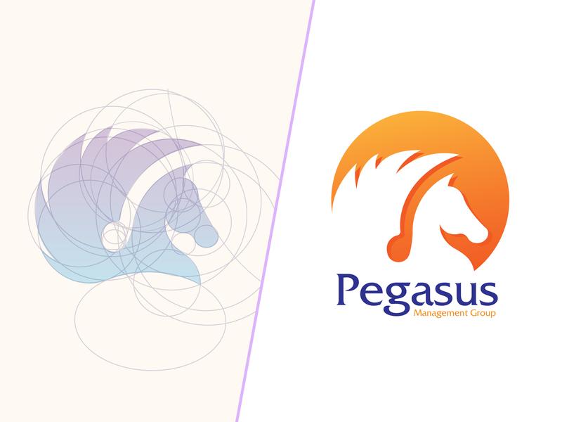 Pegasus Management Logo gradient orange flying horse flying purple horse logo horse pegasus pegasus logo logo creation logo design concept logo logo design