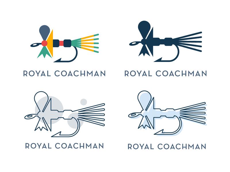 Royal Coachman Logo brand identity royal fly fly fishing illustrator art illustration branding logo