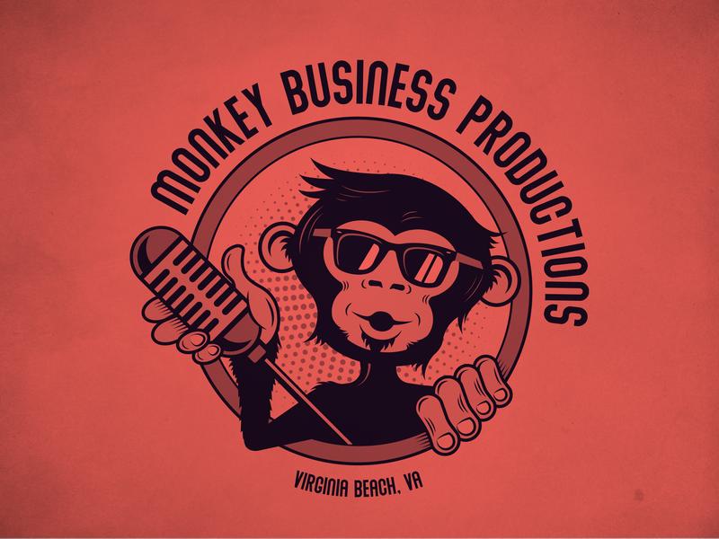 Monkey Business Logo on Red vector art vector furry fur glasses sunglasses party dude ape business logo design vintage logo illustration adobe illustrator microphone logo design logo monkey logo red