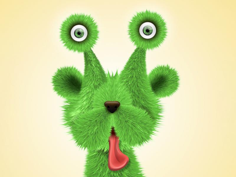 alien dog eye balls adobe illustrator yellow green furry vector fur texture vector dog illustration alien dog dog alien