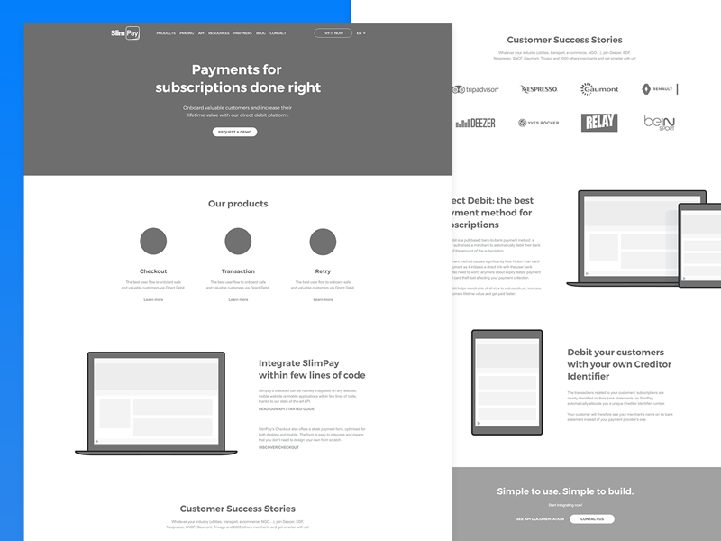 SlimPay Redesign - Wireframe ui design ui payments devices wireframe