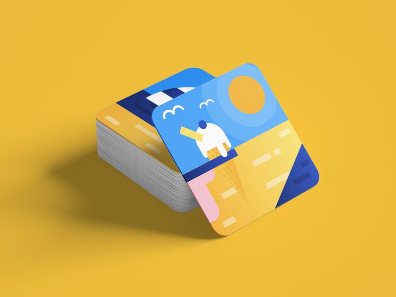 Ideas to illustrater your Summer illustration sand summer sky sea icecream idea coasters vector sun illustration art