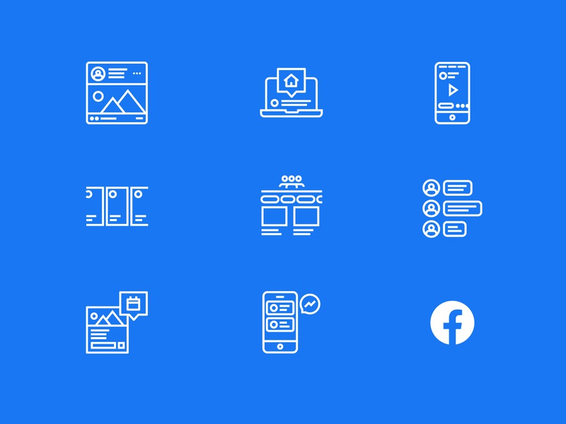 Facebook Elements Icons messager facebook events home groups comments story feed facebook ads facebook icon design icon set icon