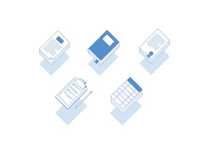 3D icons Types of Documents blue book library icons 3d documents