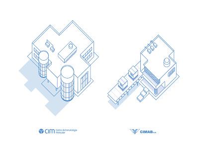 3D Icons CIM & CIMAB biotechnology science cuba blue building 3d icos