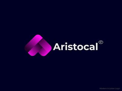 Modern A Letter Logo Design ui illustration design minimalist logo minimal technology logo coding logo colorful logo tech logo a letter logo modern logo brand design branding logo design logo graphic design