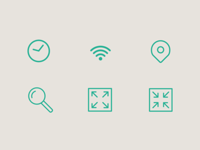 Icons illustrator icons search location clock zoom in zoom out minimal vector line art
