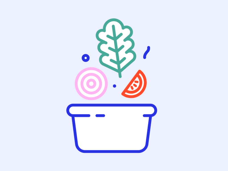 Salad onion tomato outline line art icons icon illustration minimal vector illustrator salad