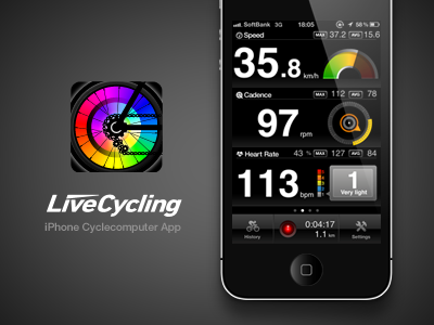 Livecycling app iphone ui ux interface design icon logo