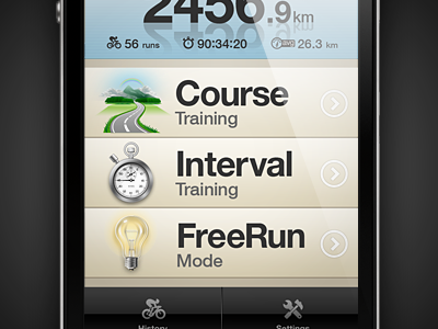 LiveTraining Menu iphone app interface ui ux design