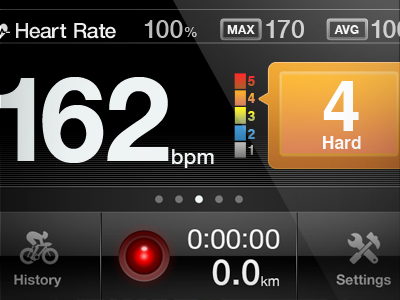 LivecyCling Record iphone app interface ui ux design