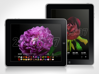Bloomclock Retina iPad App ipad app apple flower clock time ui ux design retina