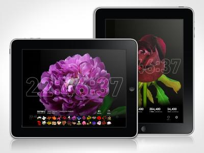 Bloomclock Retina iPad App ipad app apple flower clock time ui ux design retina