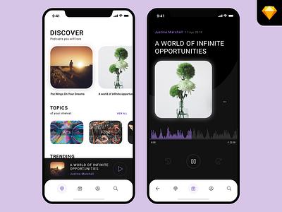 Podcast App UI challenge uplabs dark menu toolbar iphone x soundwave player music minimal ios app podcast