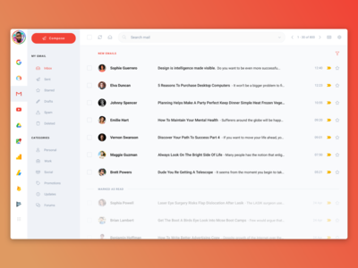 Gmail Redesign - Invision Studio - Uplabs Challenge