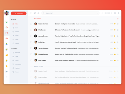 Gmail Redesign - Invision Studio - Uplabs Challenge modern challenge uplabs front-end desktop app invision studio messages web application design redesign concept redesigned redesign dashboard google mail box inbox email app mail app mail email gmail
