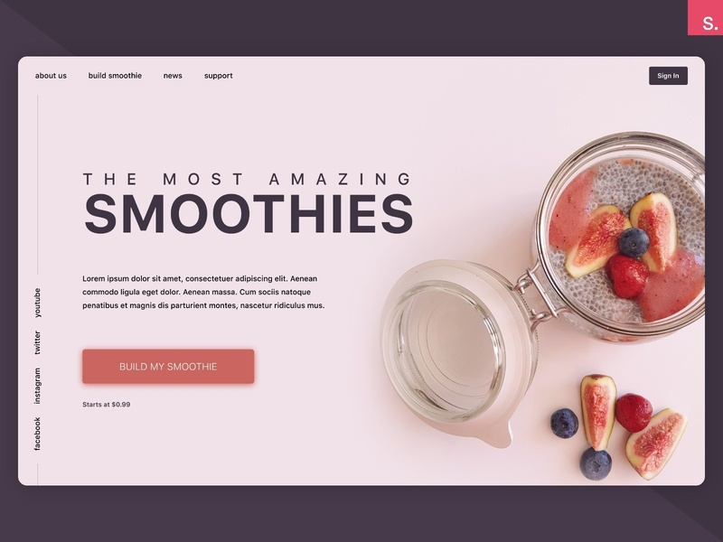 Smoothies Concept - InVision Studio Freebie web application smoothie food app landing design builder invisionstudio freebie homepage landing page hero banner hero banner