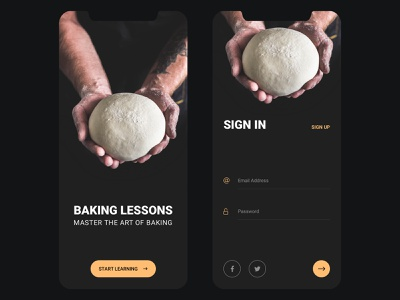 Baking Lessons - Splash & Auth elearning baking app learning app invision studio figma sketch auth kit button forms form ui kit ios mobile app splash register sign up login log in sign in