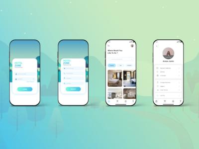 Hotel Zone App minimalist clen hotel app uidesign ui ux