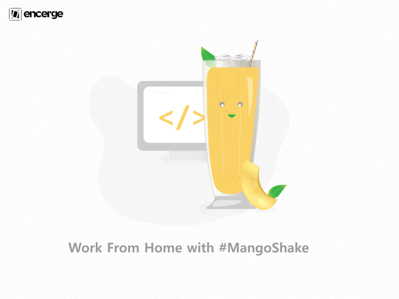 Work From home with Mango Shake work work from home illustration art doodle art doodleart doodle graphic design graphicdesign vector design codeart code coding mango shake mango illustration