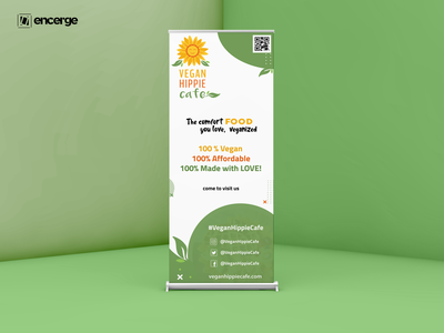 Vegan Hippie Cafe Standee vector graphic design graphicdesign design standee vegan cafe simple clean interface cafe standee cafe