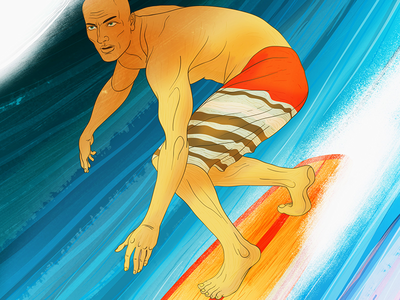 Kelly Slater sports editorial action sports portrait illustration kelly slater surfer surfing
