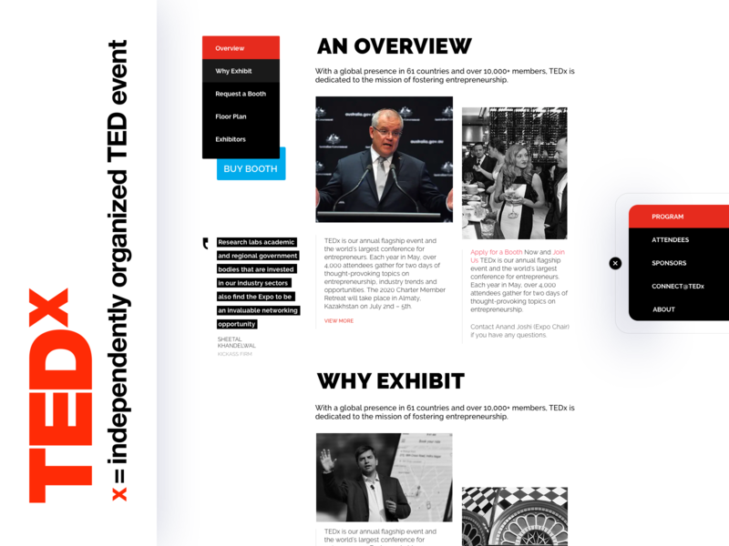 TEDx - Redesigning Conference Page branding ux design flat app web icon minimal design typography uidesign uxdesign