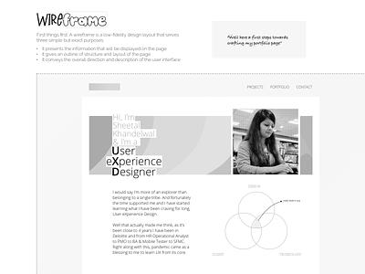 Wireframe - Portfolio Website ux web minimal typography design uidesign