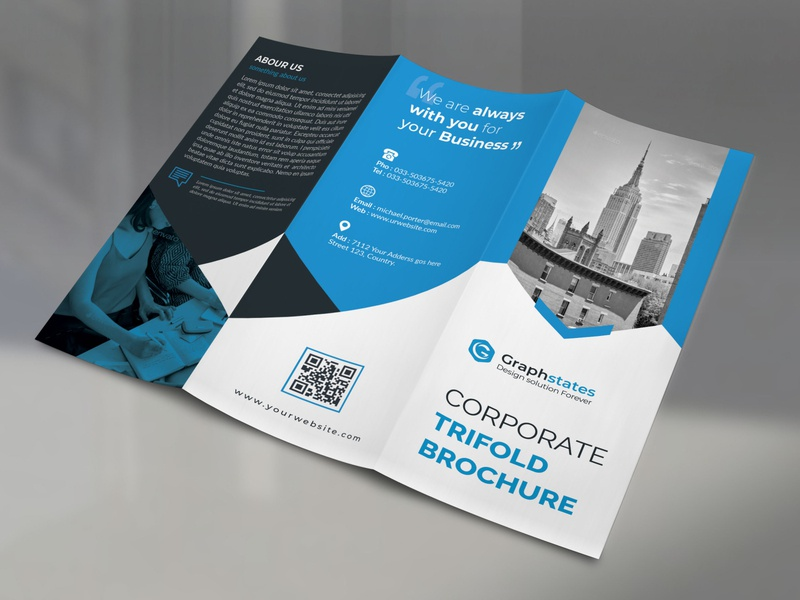 Trifold Brochure Template. bifold brochure illustration design corporate door hanger concept businesscard corporate flyer brochure design brochure trifold brochure template trifold brochure