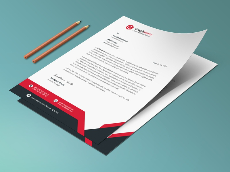 Letterhead Template. brand identity flyer orange blue clean letterhead letterhead template