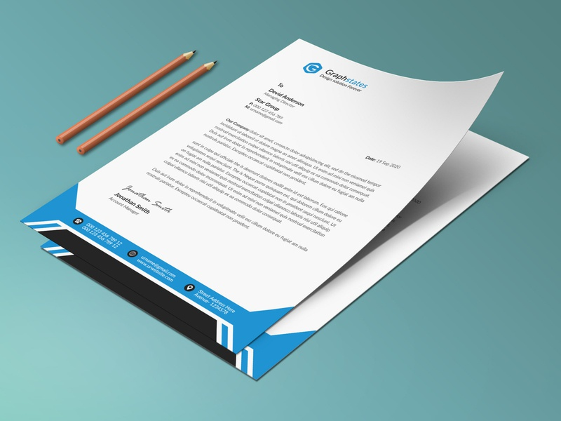 Clean Letterhead Template. flyer clean letterhead orange blue