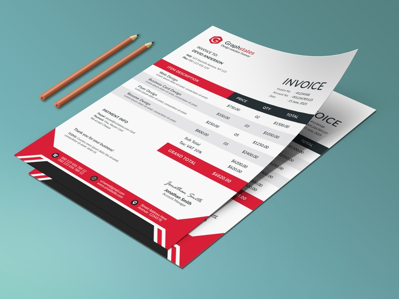 Business Invoice Template. flyer letterhead design invoice design