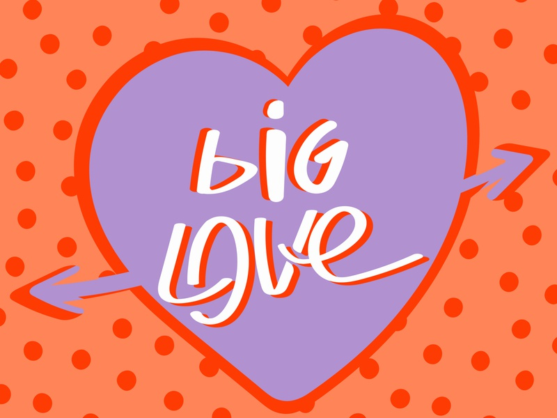 Большая Любовь old stile flat vector damage love big love colorful popo art heart illustration