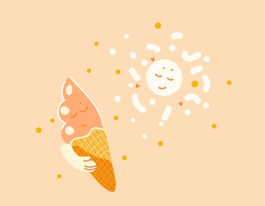 sun lover nice smile motiongraphics emotions icecream light love vector modern illustration