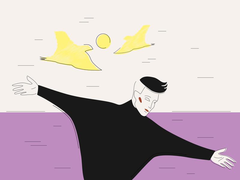 Flying sky beach sea mood swing dream birds dancer flying man boy lilac violet vector illustration