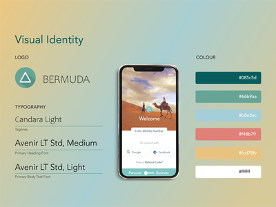 Bermuda - UX / UI Design uiux travel app design landing page welcome page login page blue yellow yellow blue app colour visual identity fonts travel app typography logo typography brand identity colours brand branding