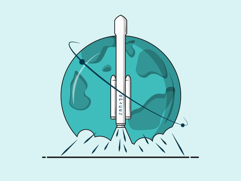 Flat Vector Illustration Series graphics planet quarantine rocket space illustration minimal illustration vector illustrations spaceship falcom 9 tesla spaceart vector graphics vector illustration