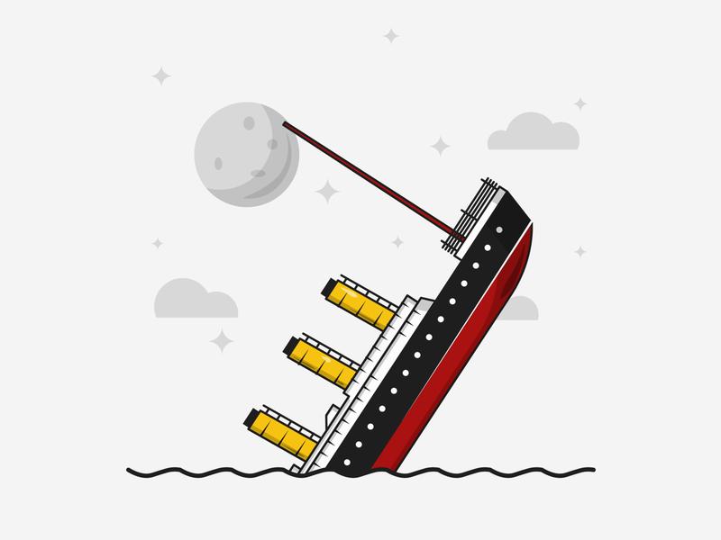Flat Vector Illustration Series flatdesign vector illustration graphics minimalistic illustration series sinking titanic illustration graphicdesign