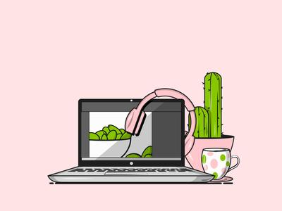 Flat Vector Illustration Series headphones graphic design design life college life cactus laptop illustrations design student grpahic gang graphics