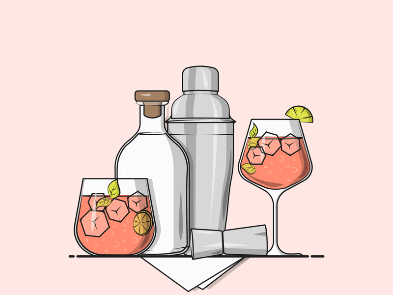 Flat Vector Illustration Series illustration designing graphicdesign gin cocktail gin and tonic gin cocktail shaker cocktail bar flat minimal illustration vector illustration weekend drinks weekend cocktail party cocktails