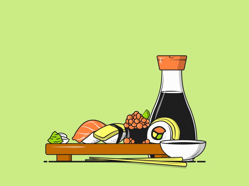 Flat Vector Illustration Series inspiration simple icon flatdesign flat illustration vector graphic designing fish chopsticks maki soy sauce soy sushi illustration sushi