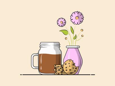 Flat Vector Illustration Series elegant minimal design student design flat vector illustration mason jar coffee flowerpot cold brew choco chip cookie coldcoffee