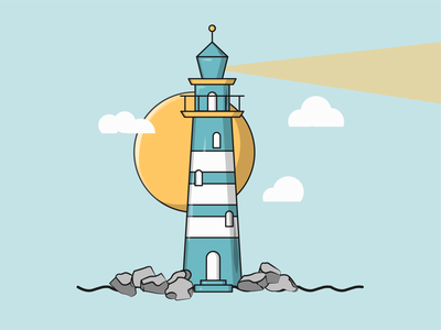 Flat Vector Illustration Series wallpaper icon graphic sea day sun fresh new minimal flatdesign flat vector illustrate blue clouds simple storm lighthouse
