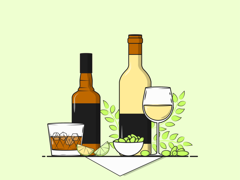 Flat Vector Illustration Series food and drinks beverages glasses drinks girls night weekend plans weekend alcoholic alcohol illustration whiskey wine glass wine alcohol minimal flat illustration vector design graphic graphicdesign