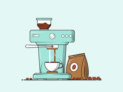 Flat Vector Illustration Series flat illustration vector illustration monday morning vector art hot coffee hot cappuccino americano student graphics designer coffee beans fresh brew coffee machine coffee lovers coffee vector graphics