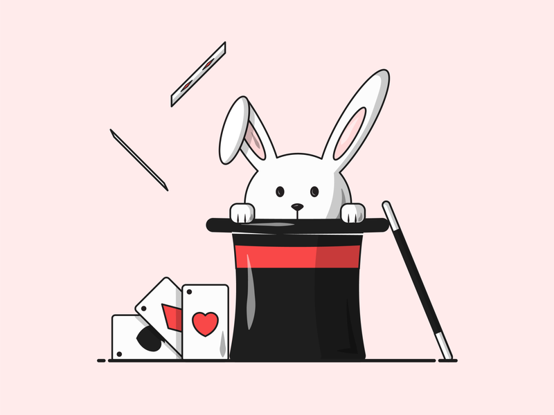 Flat Vector Illustration Series student designing fresh rabbit cute illustrator adobe tricks magician bunny hat playing cards magic simple illustrate designs icon grapgic
