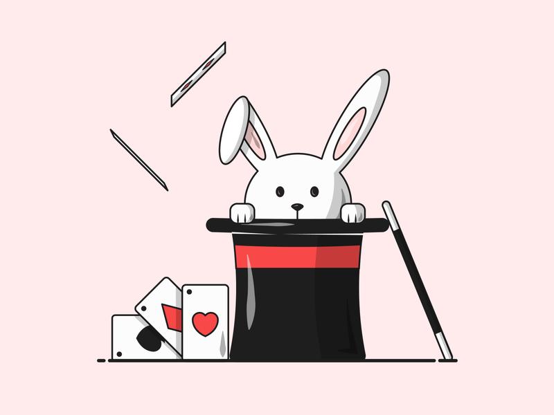 Flat Vector Illustration Series student designing fresh rabbit cute illustrator adobe tricks magician bunny hat playing cards magic simple illustrate designs icon grapgic