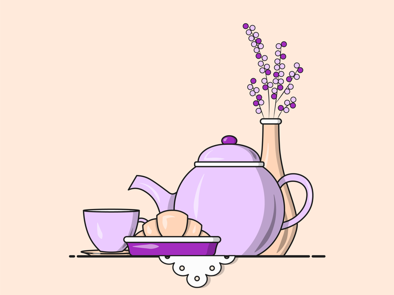 Flat Vector Illustration Series food illustration art graphics designer instagram flat graphics creative lavendar tea lover series new illustration purple gossip sis table croissant hi tea tea teapot